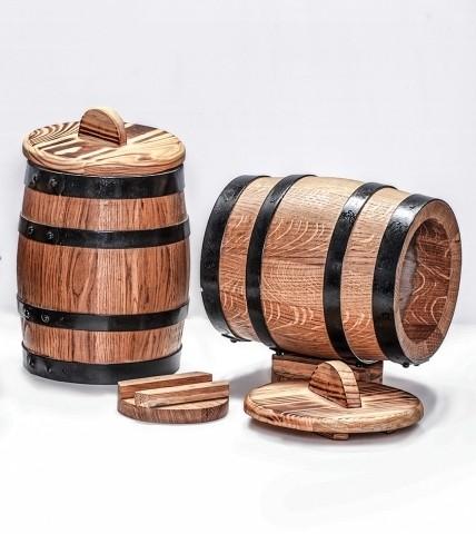 2 oak fermenting or pickling barrels