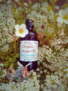 argan oil and faries with sedum