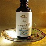 Virgin organic Argan Oil in an amber glass bottle