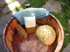 Washing up bowl, soapnuts, sponges and dishcloth