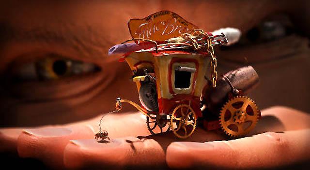 A trained human flea pulling a carriage.