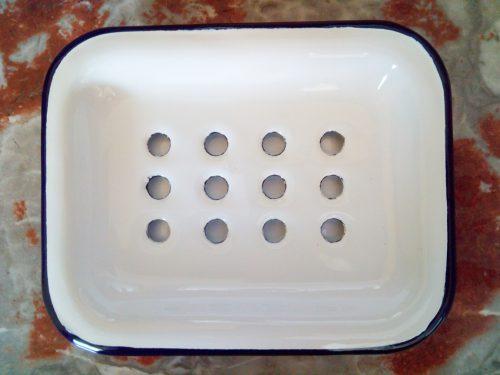 white enamel soap dish