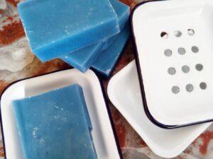 soap dish with blue indigo soap