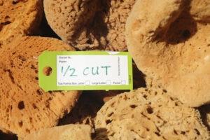 half cut sponges with label